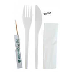 Komplet PVC vilica+nož+servieta+zobotrebec 100kos